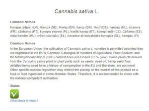 Novel-Food-Katalog Cannabis