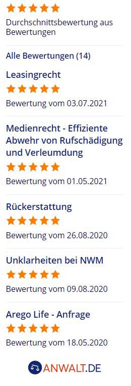 Übersicht Bewertungen anwalt.de
